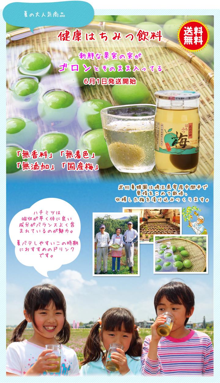 夏の大人気商品、健康はちみつ飲料。新鮮な果実の実がゴロンとそのまま入ってる!